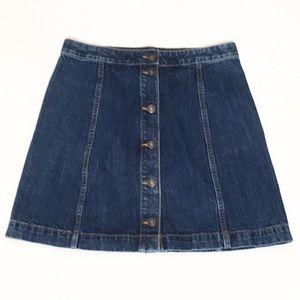 LOFT | Blue Jean Denim Button-Down A-Line Skirt